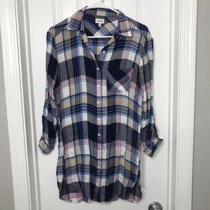Blue & Pink Sneak Peek Long Soft Flannel Shirt